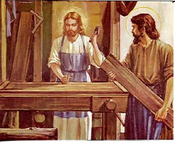 Hey Jesus, nice wood glue! - Thanks, I got it on sale my son.